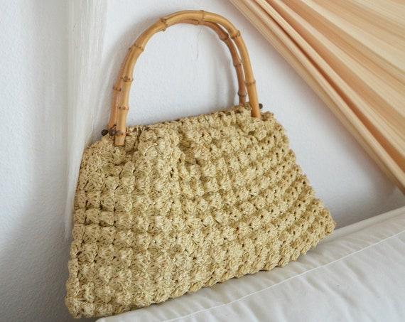 Vintage Macrame bag handmade macramee hippie handbag boho crochet bag beige bambus hairbag