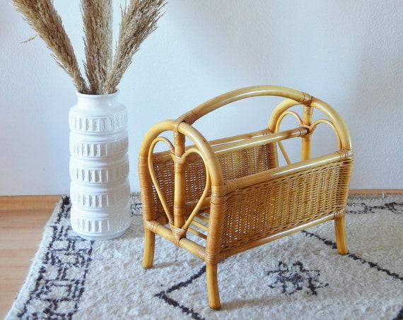 Vintage Rattan Bamboo Newspaper Stand Magazine Holder Basket Heart Storage wicker boho