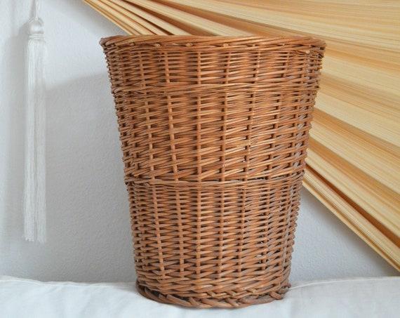 Rattan trash vintage round round wicker basket vintage boho