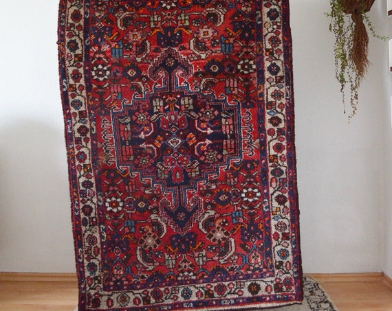Vintage Rug Berber Rug Oriental dusty pink blue 150 x 100 cm Afghan Nomadic Thick Moroccan Taimani Baluch Wool Carpet