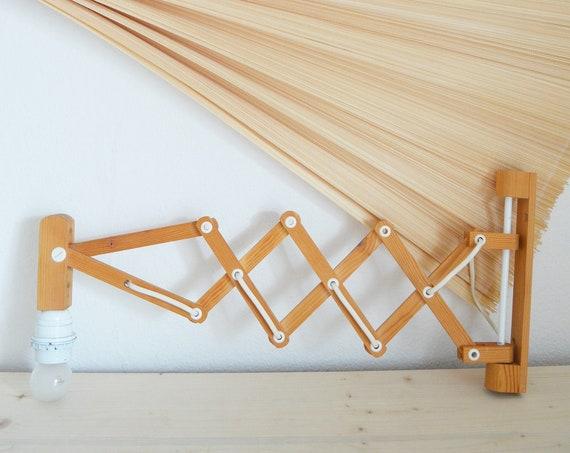 Mid Century wooden scissor lamp