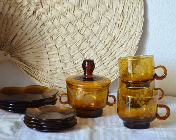 Mid century set tea glasses service mustard mustard yellow amber glass with tray gold sugar bowl cups plate