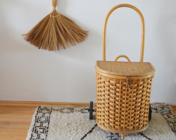 Vintage Bamboo & Rattan Shopping Trolley shopping trolley
