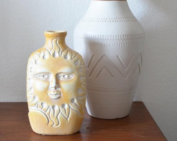Mid century vase moon & sun terracotta ethno boho handmade beige white