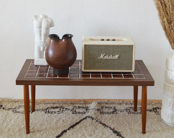 Mid century coffee table side table tiles rust red vintage side table teak wood