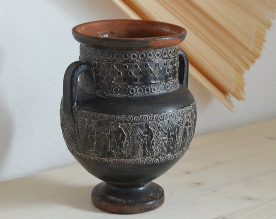 Vintage ceramic vase amphora black rust brown rust brown terracotta home decor mid century