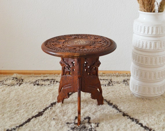 Vintage side table wooden carving with flowers side table wood boho