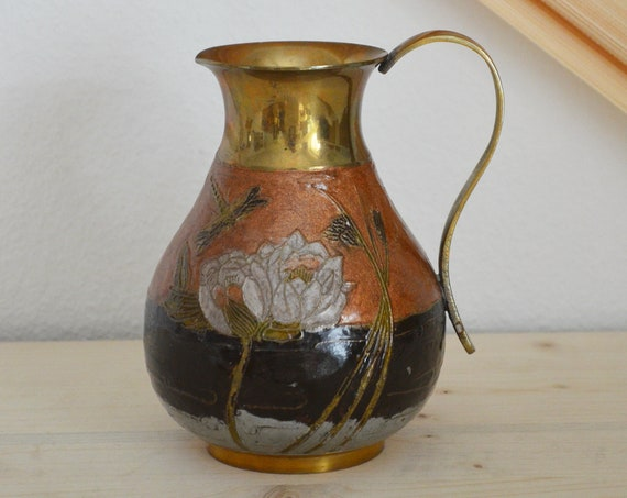 Vintage jug vase from brass jug 1960s brass home decor mid century danish design