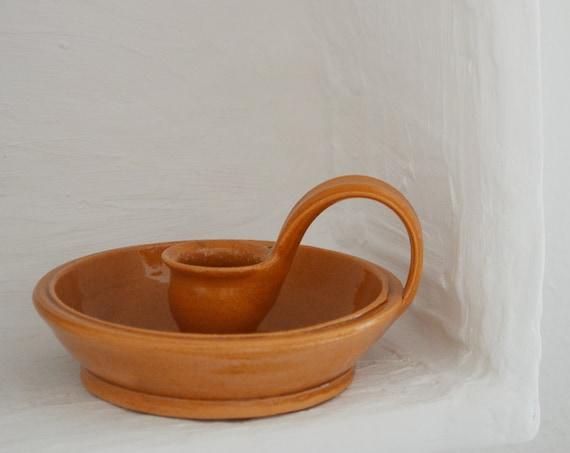 Candlestick - ceramic terracotta/beige handmade studio pottery