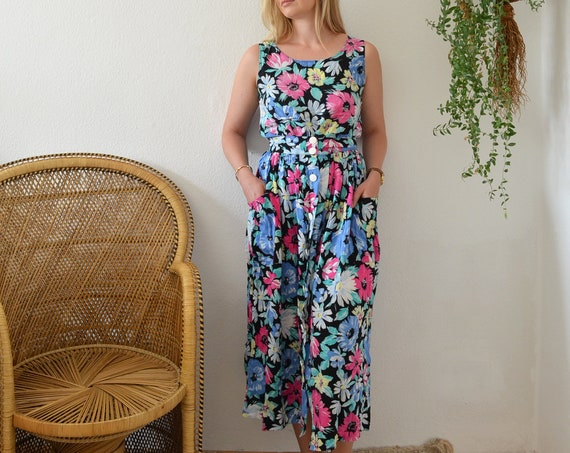 Vintage Clothing - Size S / 1970s Floral Set Midi skirt & Top - Made in France