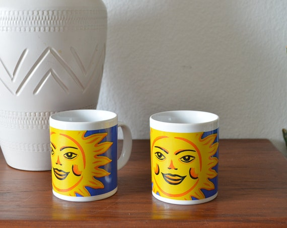 Set of two vintage cups sun handmade pottery