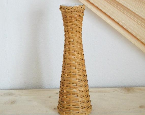 Vintage KAISER ceramic rattan vase brown white boheme boho