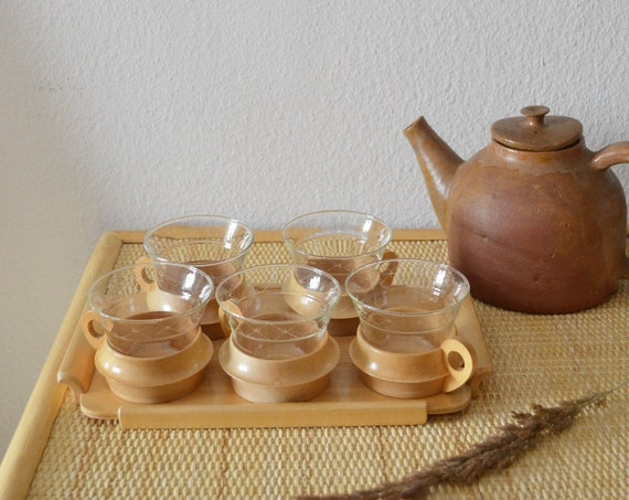 Set of 5 vintage wooden glasses with tray, drinking glasses, tea glasses, glasses cups mug boho home décor