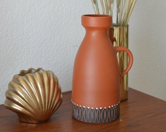 Mid century vase jug terracotta ethno boho handmade