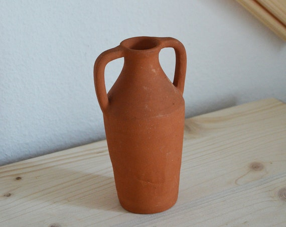 Vintage clay ceramic vase amphora 1960s rust brown rust brown terracotta studio pottery