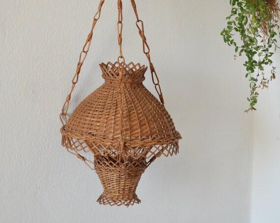 Rattan hanging lamp round vintage lampshade lantern wicker hanging lamp shade round boho