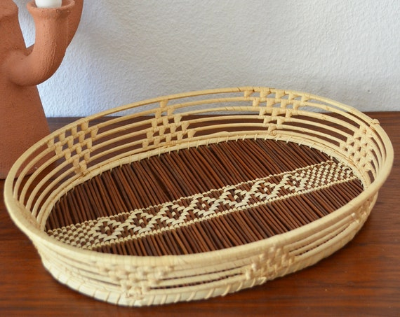 Boho rattan tray vintage tray bohemian ethno wicker round home decor basket