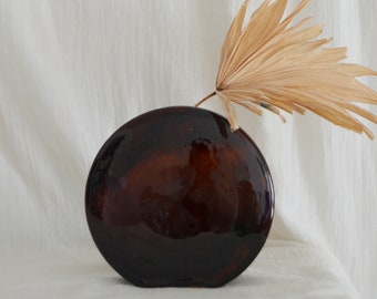 Mid Century Vase brown handmade round circle