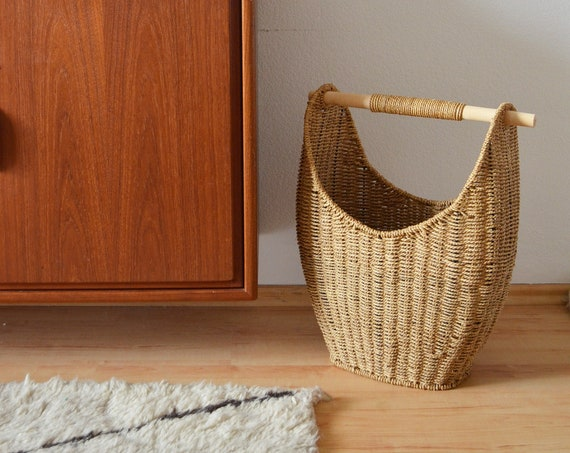 Vintage Rattan Sisal Basket Laundry Basket laundry basket