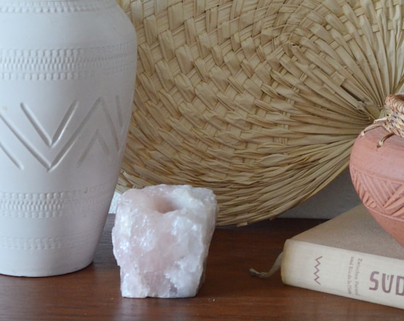 Vintage Rose Quartz Salt Crystal Tea Light Holder Candle Holder Pink