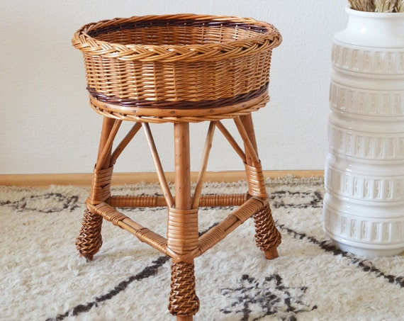 Vintage plant stand rattan boho flower stand Plant stand wicker 1970