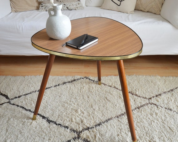 Mid century coffee table side table kidney table gold brass brass vintage side table teak wood
