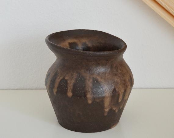 Mid century vase brown beige handmade round asymmetrical