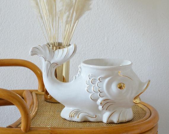 Mid century flowerpot white gold fish vintage planner boho planting pot bohemian vase white