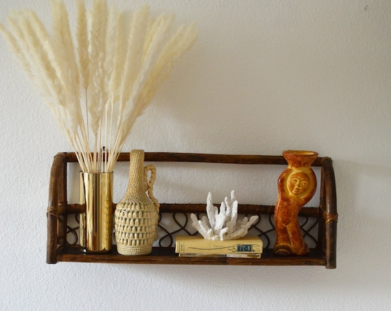 Vintage boho rattan shelf wall shelf wicker