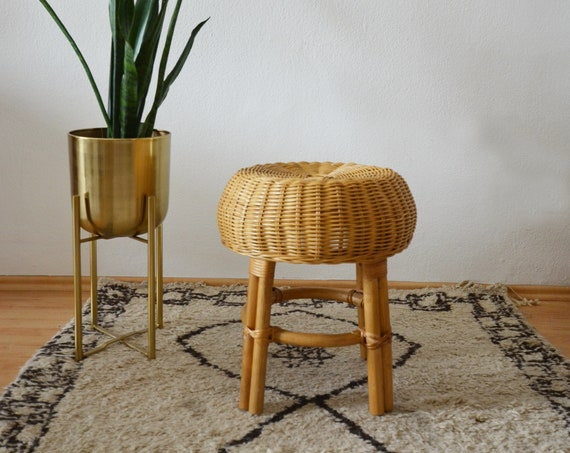Vintage rattan stool plant stand wicker stool boho round side table 1970s chair