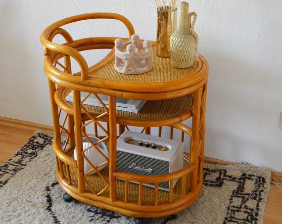 Vintage bamboo bar bamboo bar cart serving trolley side table boho rattan