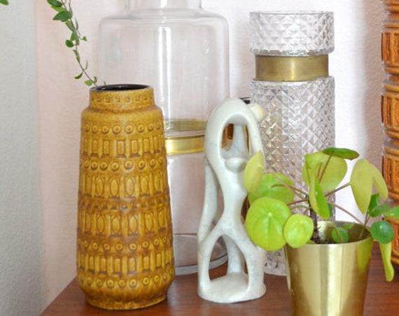 Vintage Inca Scheurich vase mustard mustard yellow matte yellow 22 cm boho mid century