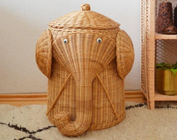 Vintage Rattan Laundry Basket Elephant White Wicker laundry basket Elephant boho