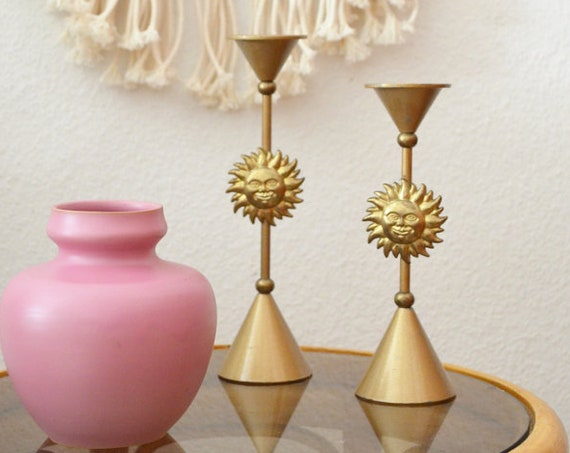 Vintage Sun Candle Holder Set Gold