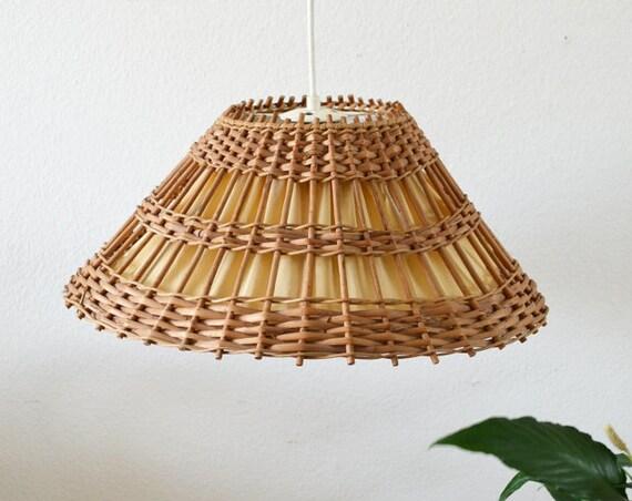 Rattan hanging lamp round vintage lamp shade Boho