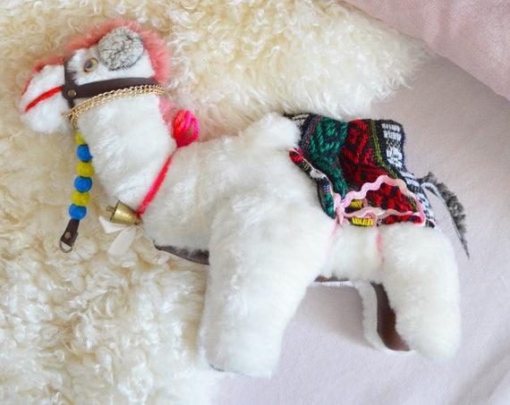 Vintage stuffed Camel boho Kilim Lama Alpaca