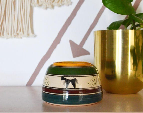 Vintage Boho vase earthenware round goat buffalo green white striped planter plants