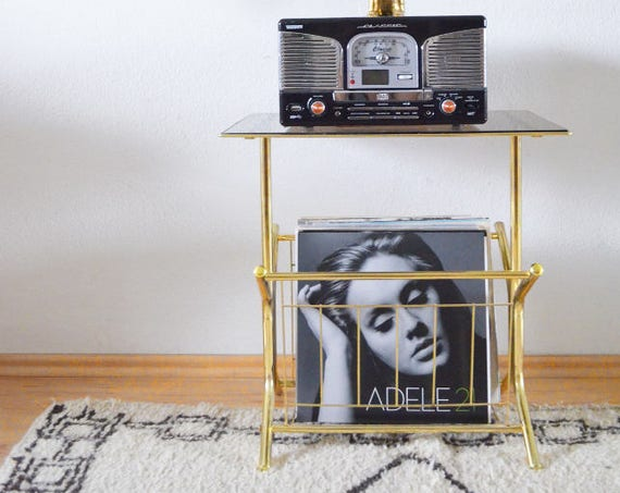 Gold vintage record stand, side table brass with glass for turntable, newspaper stand