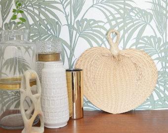 Vintage palm fronds hand fan rattan boho
