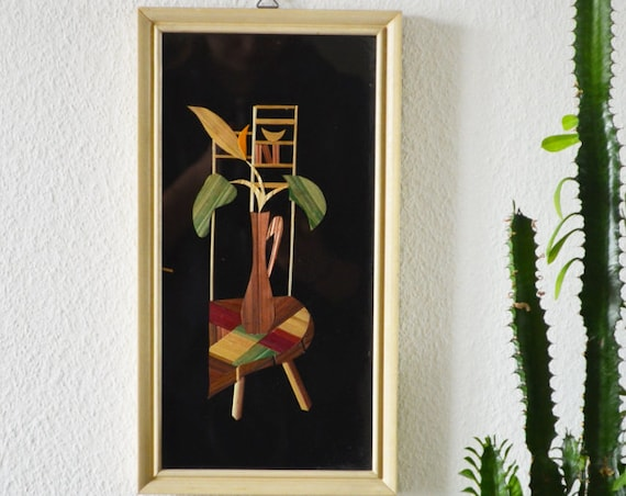 Handmade 50s picture framed straw image