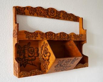 Vintage kitchen shelf spice rack wood roses
