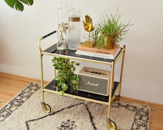 Mid century trolleys brass & glass gold, black serving trolley
