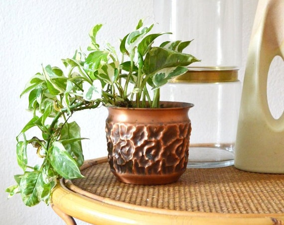 Vintage Copper Flower Pot
