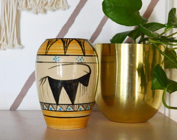 Vintage Boho buffalo vase beige yellow light blue bohemian earthenware handmade