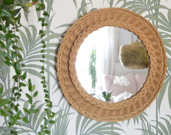 Vintage 1960 Rattan mirror around 40 cm mid century wall mirror
