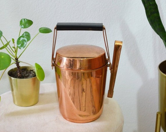 Vintage ice bucket with pliers Ice Bucket Leather Copper copper