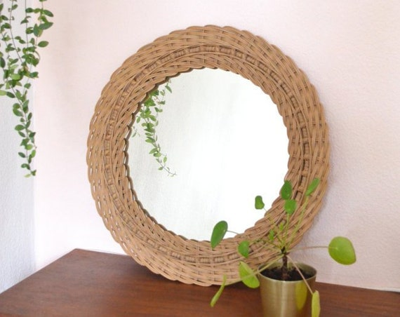 Vintage 1960 Rattan Mirror around 47 cm mid century wall mirror