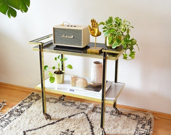 Vintage Tea trolley Cart gold black white dinet brass bar trolley mid century side table