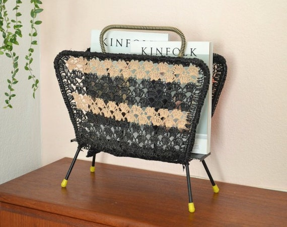 Vintage Newspaper Rack Gold 1960 's boho brass Crochet macrame magazine Holder