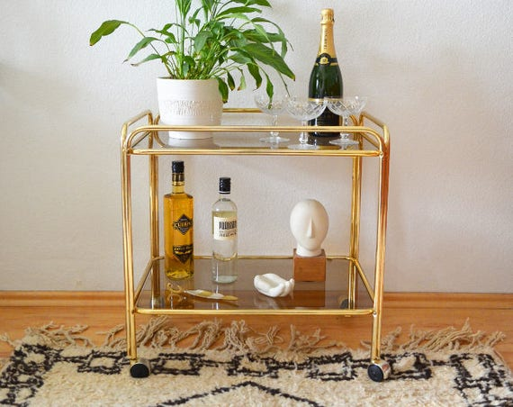 Vintage bar trolley gold brass and glass brass serving trolley bar cart side table mid century